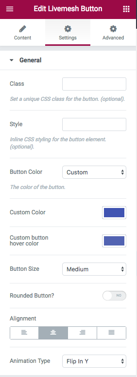 Button Element Edit Window