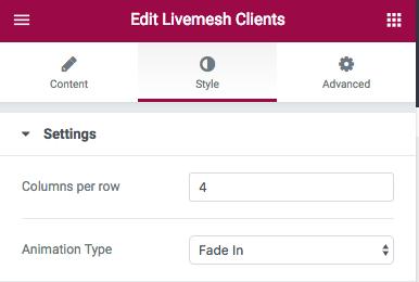 Clients Element Edit Window