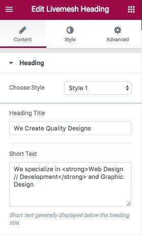 Heading Element Edit Window