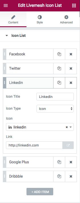 Icon Lists Element Edit Window