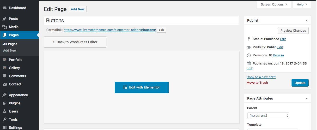 Elementor Page Builder Screen