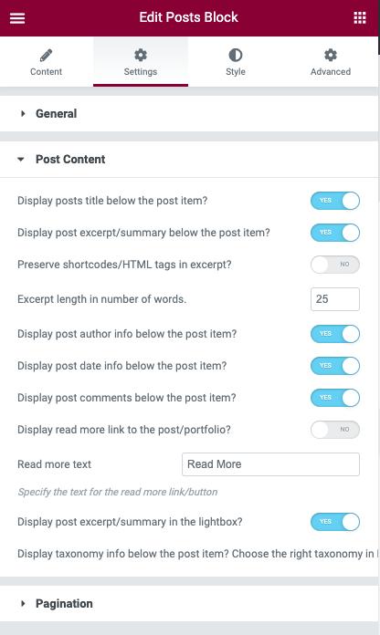 Posts Block Posts Content Options