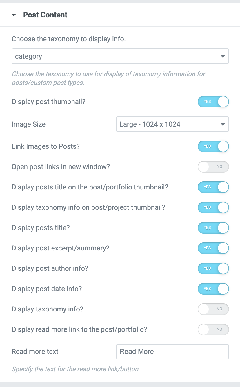 Posts Carousel Posts Content Options