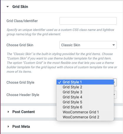 Posts Grid Builtin Styles