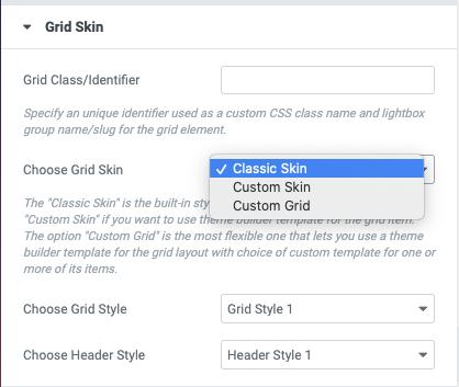Posts Grid Grid Skin Options