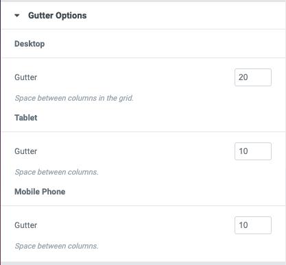 Posts Grid Gutter Options