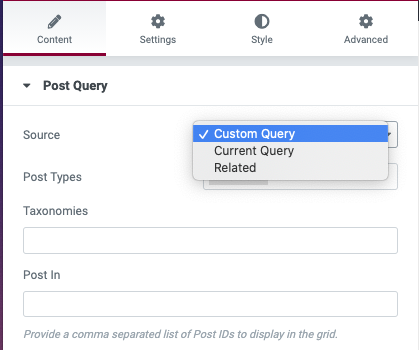 Posts Grid Post Query Options