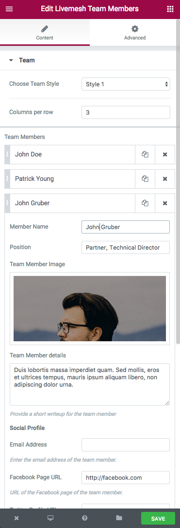 Team Members Element Edit Window