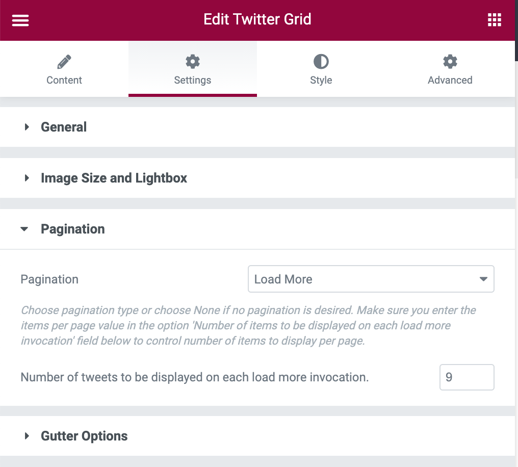 Twitter Grid Pagination