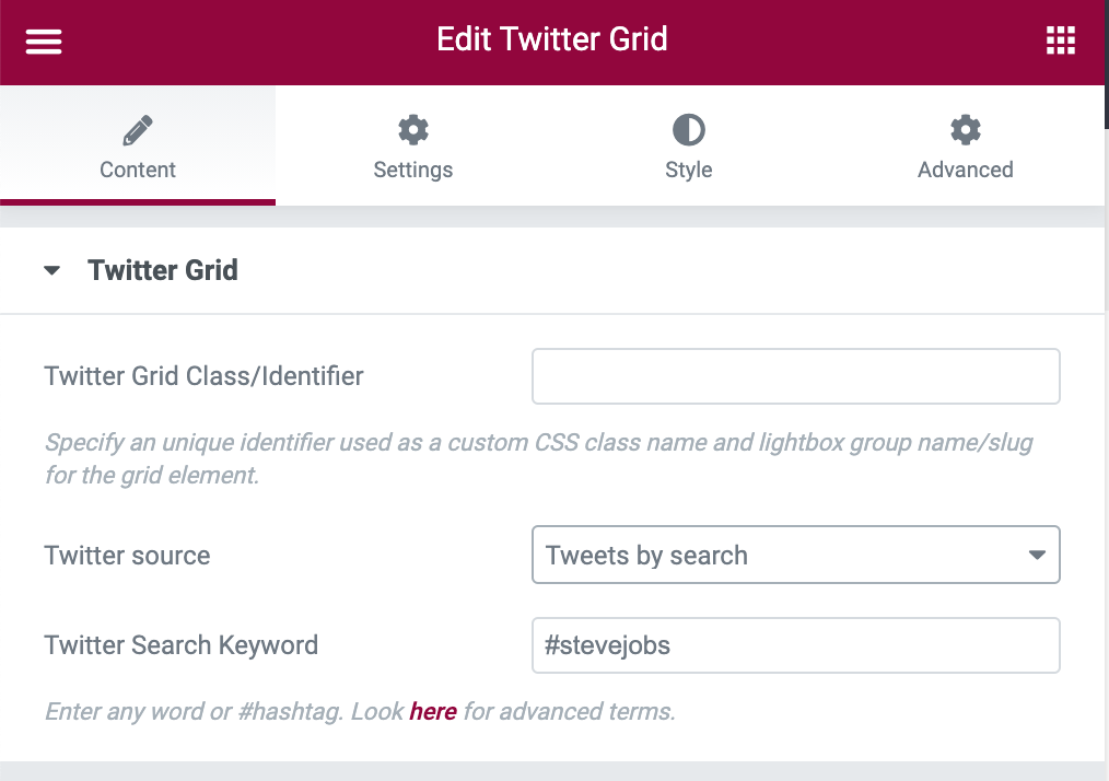 Twitter Grid Search Tweets