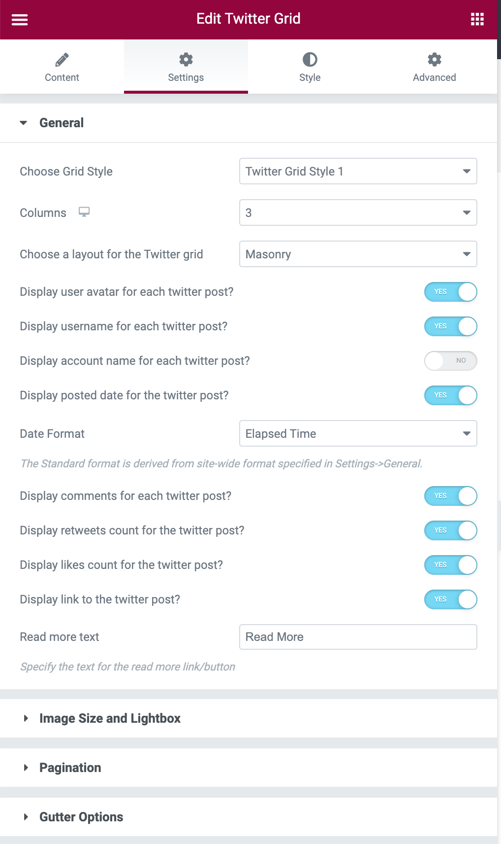 Twitter Grid Settings Tab