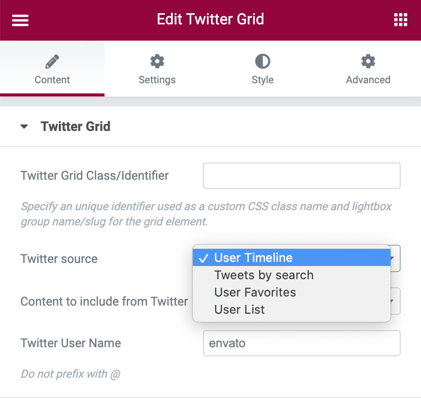 Twitter Grid source options