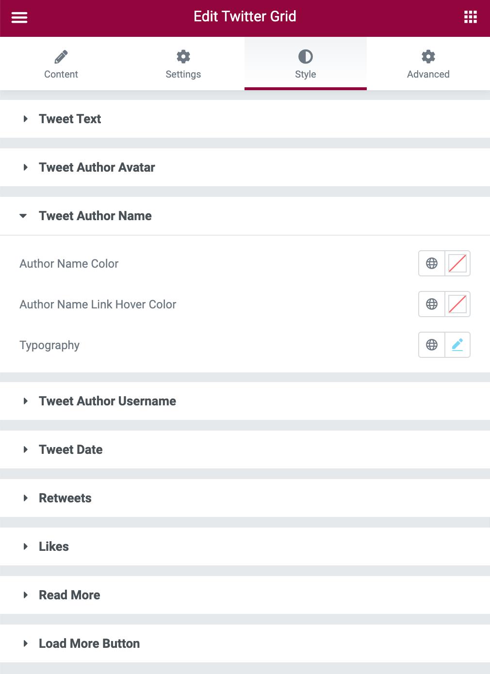 Twitter Grid Styling