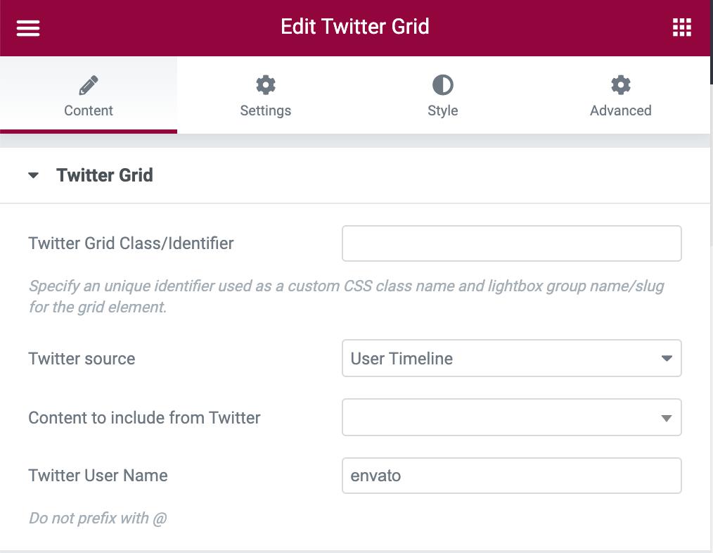Twitter Grid User Timeline