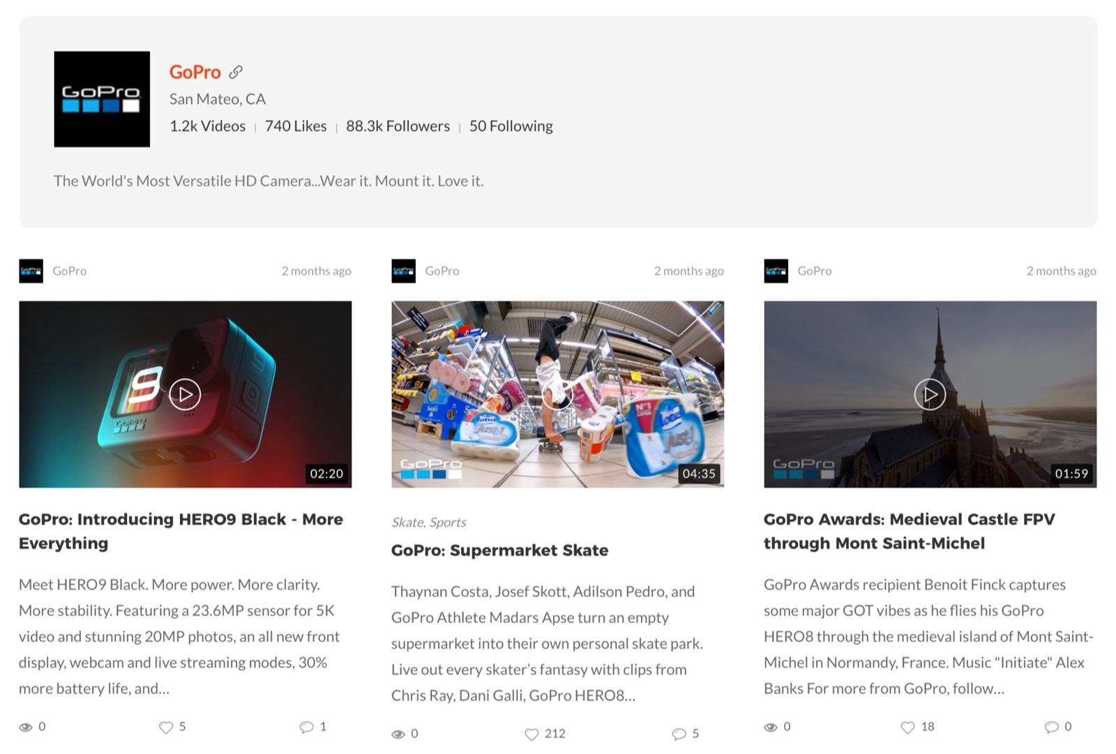 Vimeo Gallery/Grid