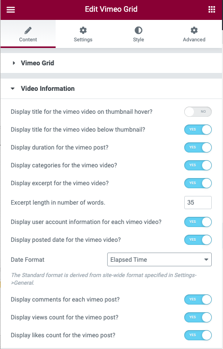 Vimeo Gallery Video Content Options