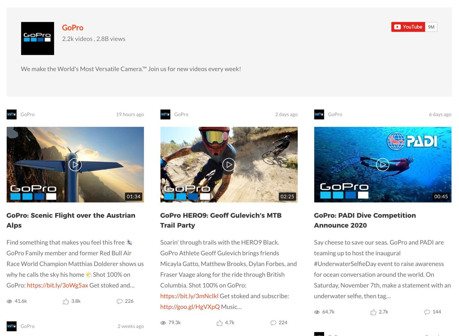 YouTube Gallery/Grid