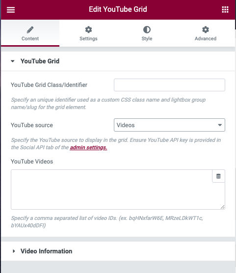 YouTube Gallery Videos IDs